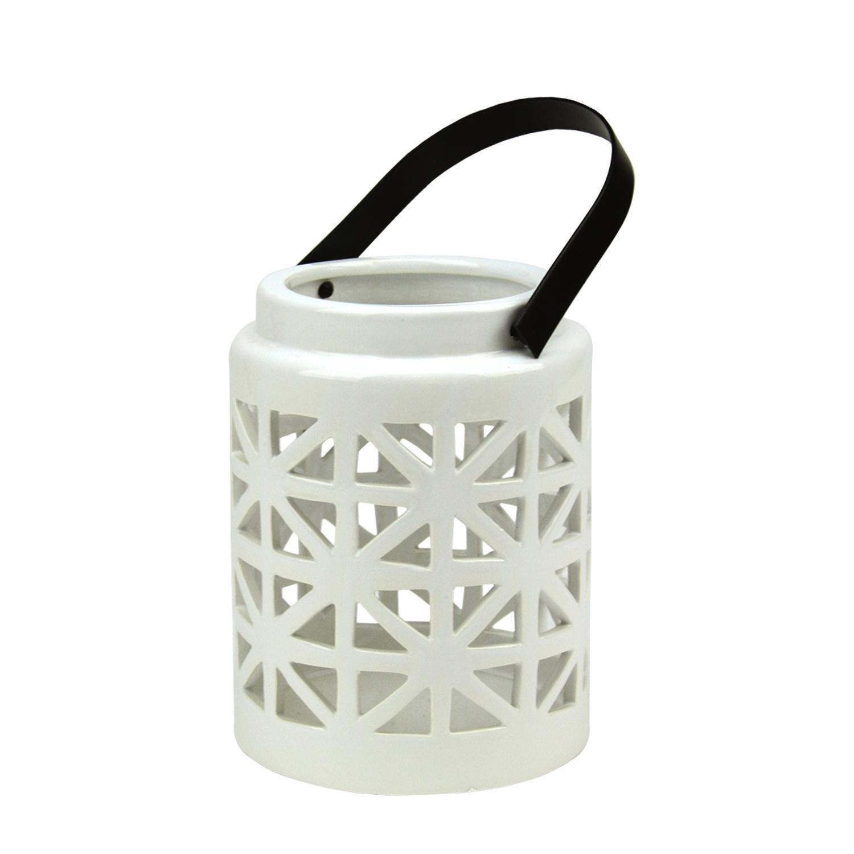 "10"" Seaside Treasures Decorative White Ceramic Cutwork Candle Holder Lantern"