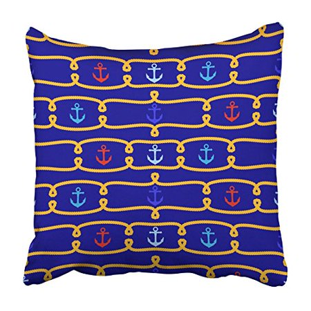 ARHOME Navy Anchor Tileable Nautical Boat Boating Chain Classic Knot Marine Maritime Pillowcase Cushion Cover 18x18 inch