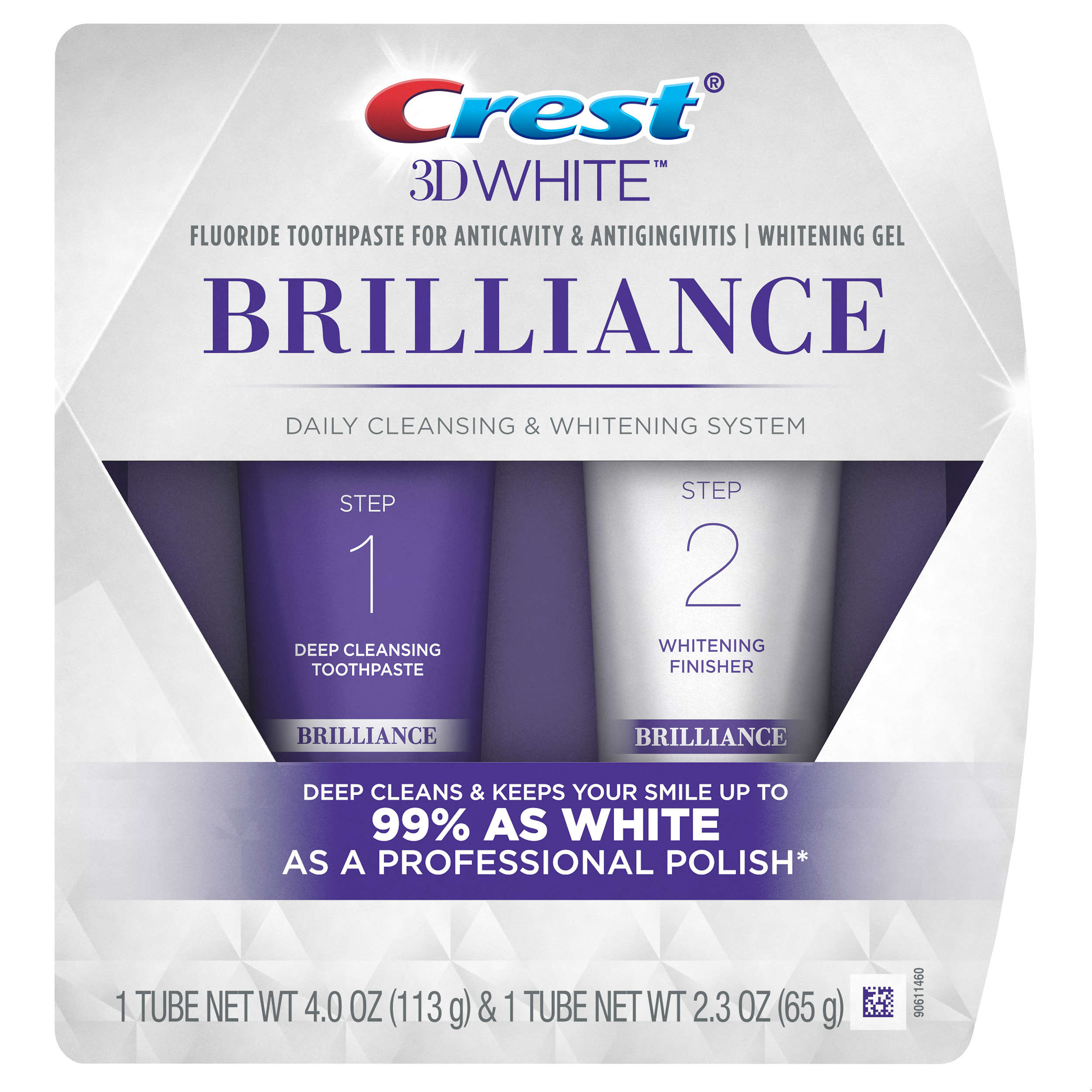 Crest 3D White Brilliance Daily Cleansing Toothpaste and Whitening Gel System (Choose Size)