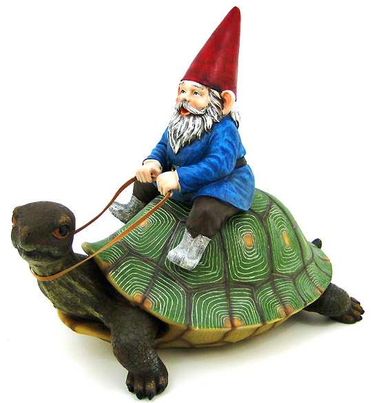 Zeckos Large Garden Gnome Riding Turtle Statue Patio Pool by DWK Corporation