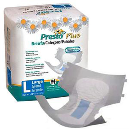 Presto Breathable Brief, Value Plus Absorbency, Large, Blue-Pack of 20