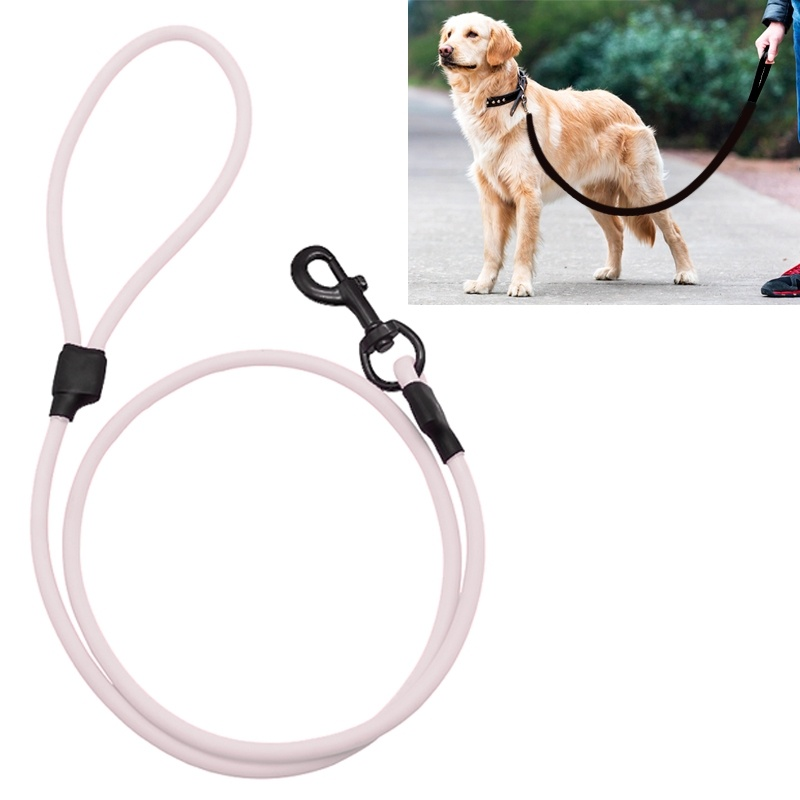 PVC Material Wear-resistant Waterproof Traction Belt Pet Dogs Traction Rope with Handle, Suitable For Medium and Large Dogs, Rope Length: 120 cm - White