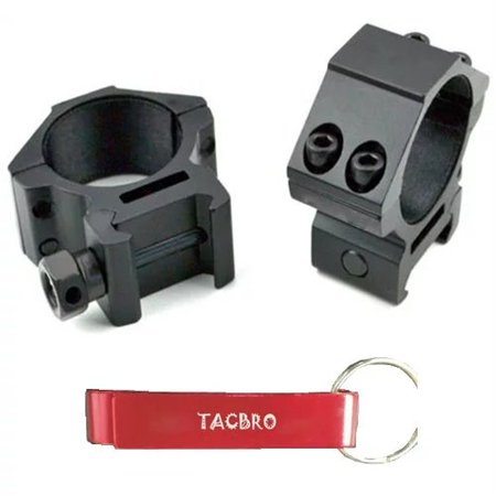 TACBRO 30mm Dia. Low Profile Scope Rings For Picatinny/Weaver Rail System with One Free TACBRO Aluminum Opener(Randomly Selected Color) ()