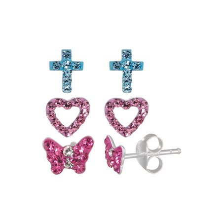 Girls' Sterling Silver Crystal Purple Heart, Pink and White Butterfly, and Blue Cross Stud Earrings Set