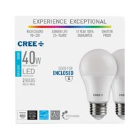 Cree 40W Equivalent Daylight (5000K) A19 Dimmable Exceptional Light Quality LED Light Bulb (2-Pack)