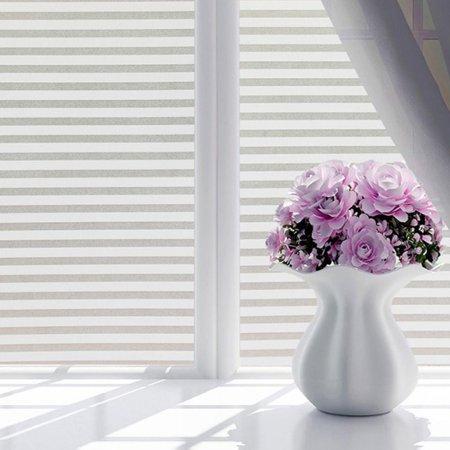 200x45cm Waterproof Static PVC Glass Window Film Stripe Glass Film Sticker Home Office Window Decor 79''x18''