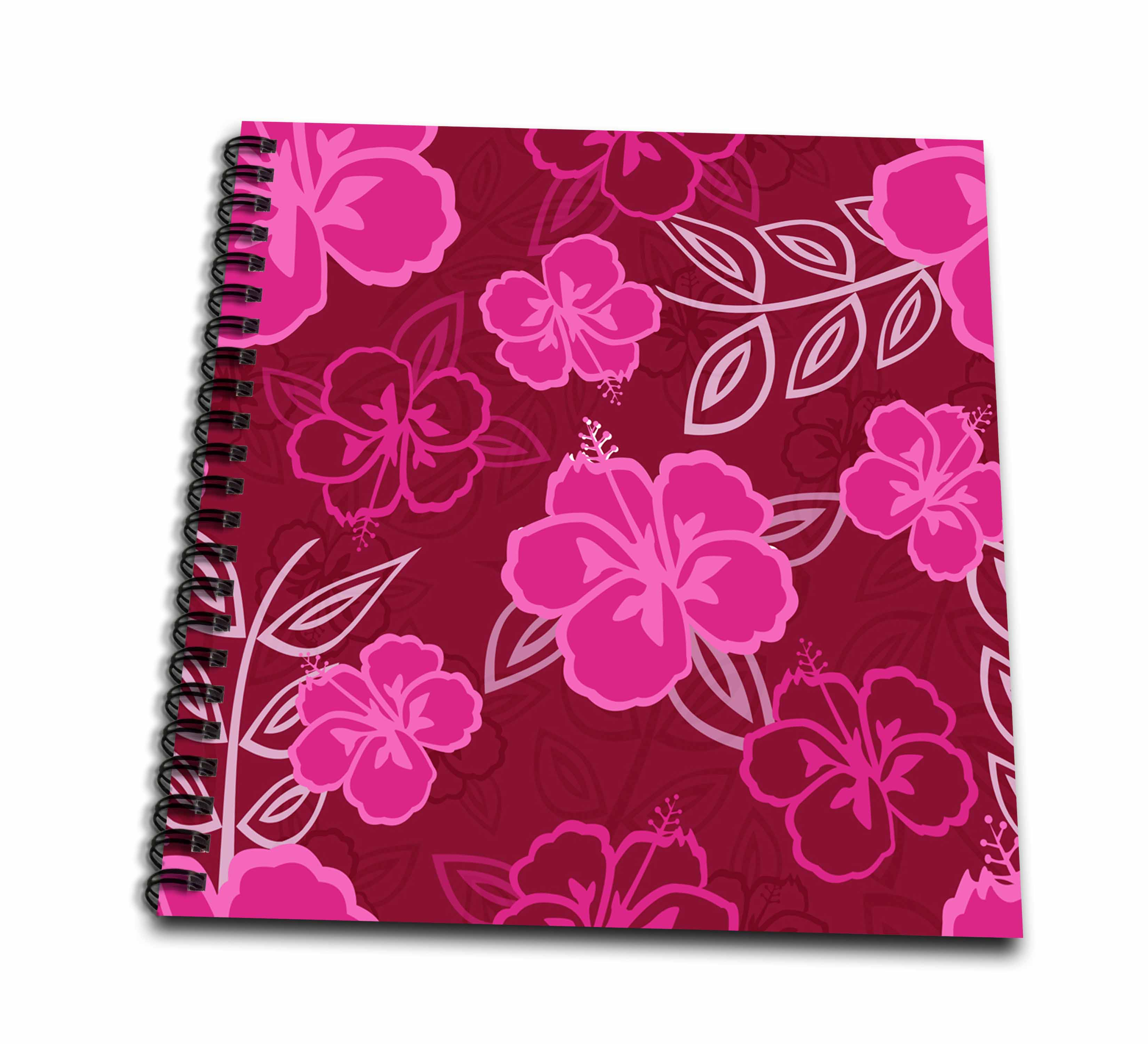 3dRose Magenta Pink Hawaiian Hibiscus Pattern - Drawing Book, 8 by 8-inch