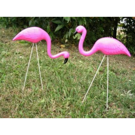 OTC - 2 small Pink FLAMINGO mini Lawn Ornaments YARD art - Plastic Flamingo Yard Ornament