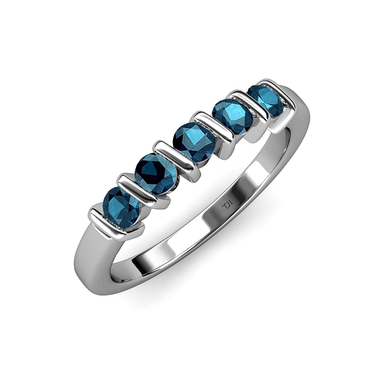 Blue Diamond 5 Stone Bar Set Wedding Band 0.75 ct tw in 14K White Gold by TriJewels