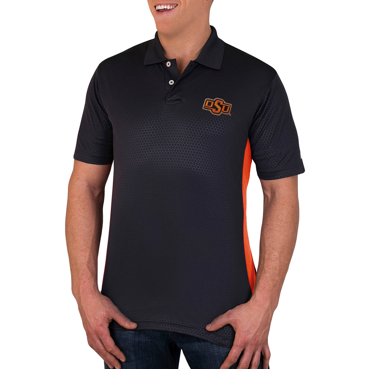 NCAA Oklahoma State Cowboys Men's Synthetic Embossed-Pattern Polo