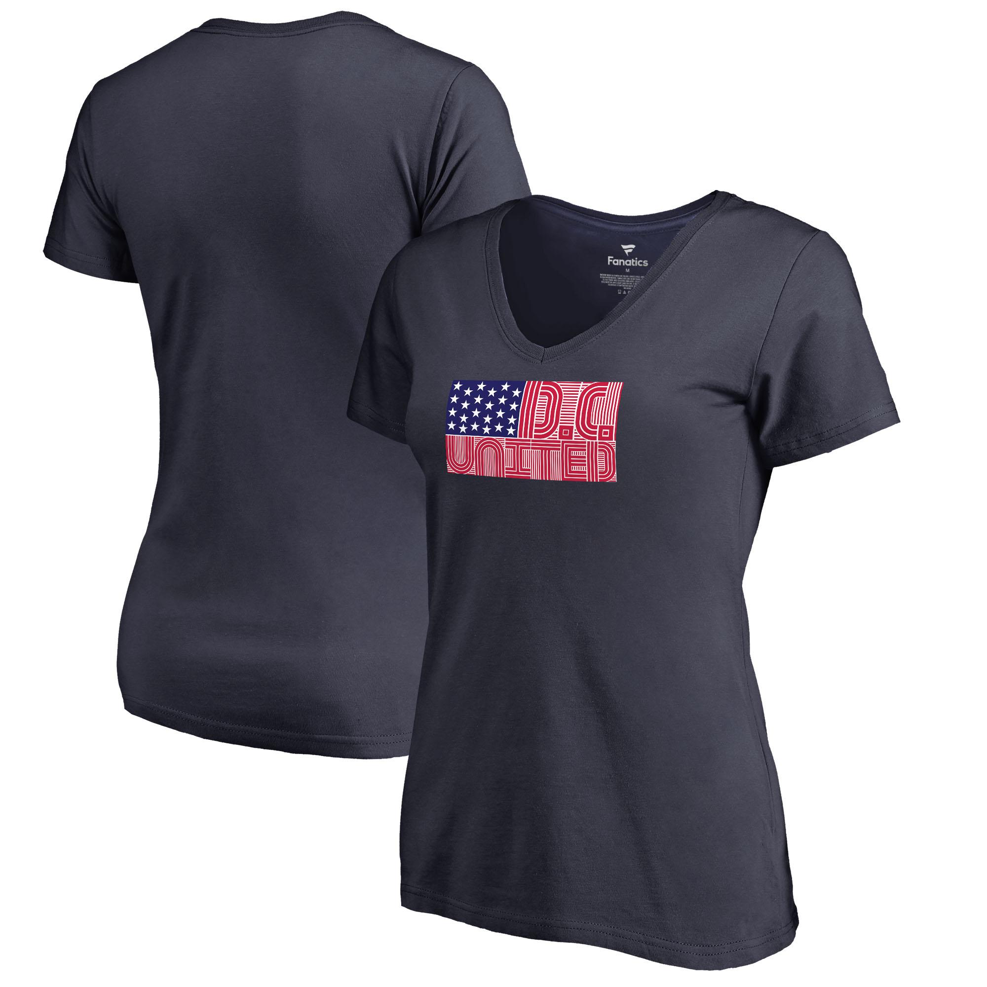 D.C. United Fanatics Branded Women's Patriotic Wordmark V-Neck T-Shirt - Navy