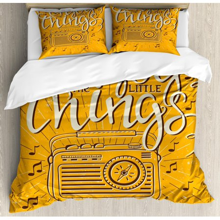 Enjoy the Little Things King Size Duvet Cover Set, Retro Radio Playing Music with Hand Drawn Calligraphy, Decorative 3 Piece Bedding Set with 2 Pillow Shams, Marigold Black and Cream, by Ambesonne