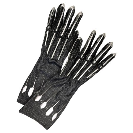 Rubie's Men's Deluxe Black Panther Gloves/Claws Adult, Black/Silver, One - Black Panther Gloves
