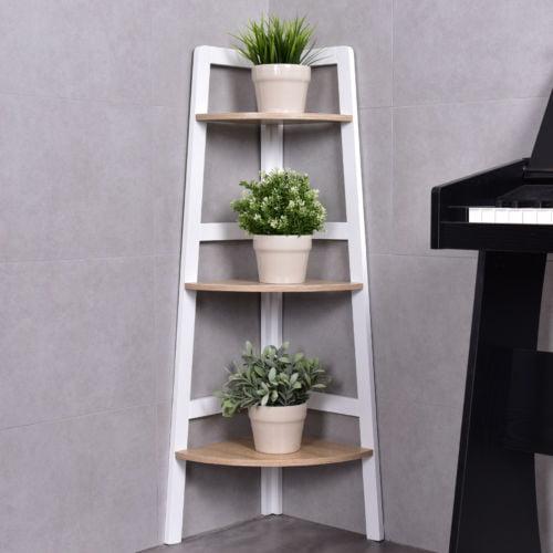 Completely new Costway 3 Tier Wood Corner Bookcase Shelf Ladder Shelf Wall  VL16