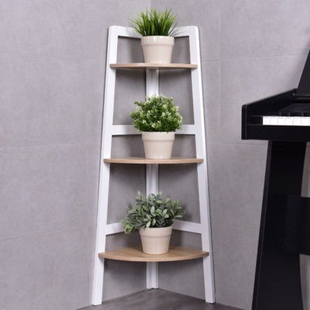 Goplus 3 Tier Wood Corner Bookcase Shelf Ladder Shelf Wall Bookshelf  Display Stand