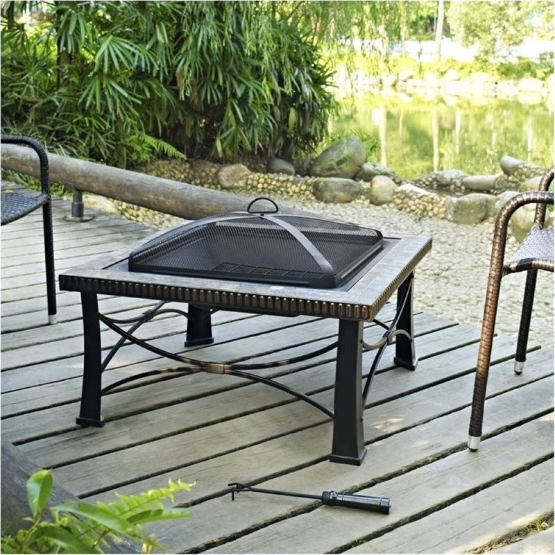 Bowery Hill Square Slate Firepit in Black by Bowery Hill