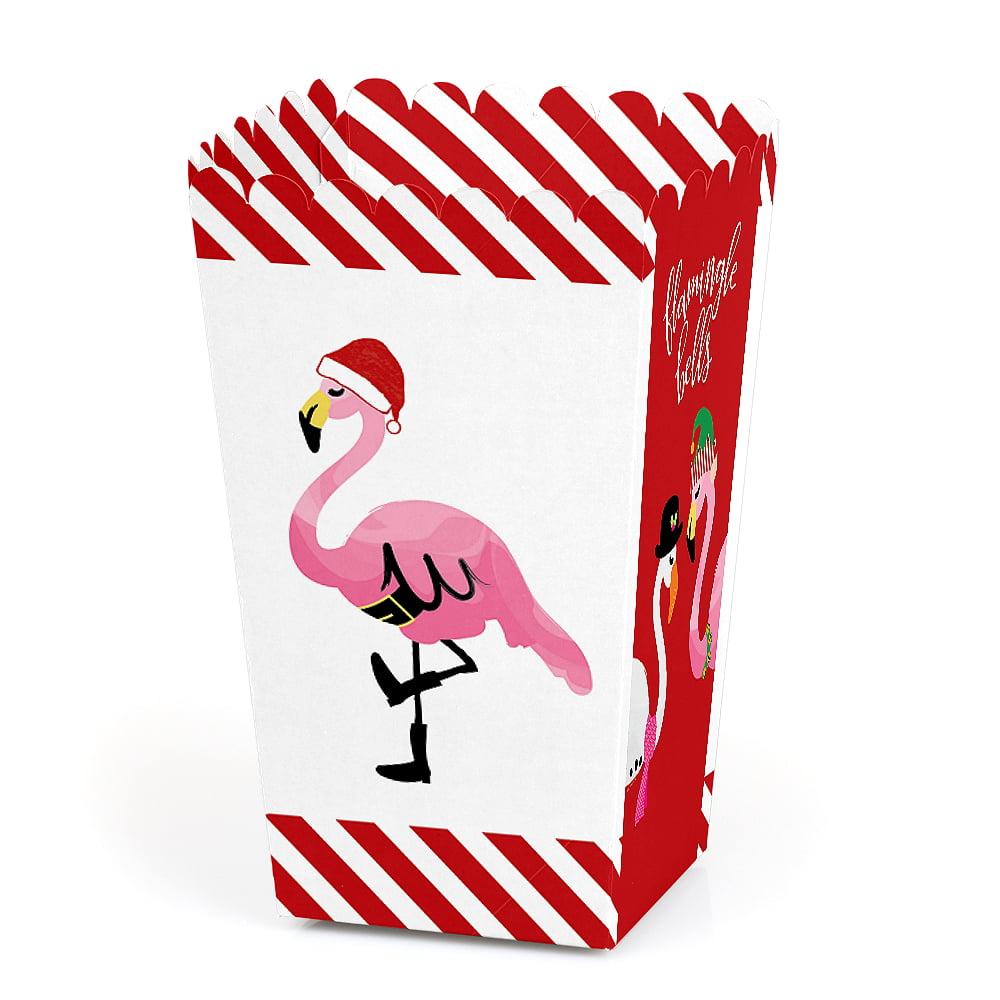 Flamingle Bells - Tropical Flamingo Christmas Party Favor Popcorn Treat Boxes - Set of 12