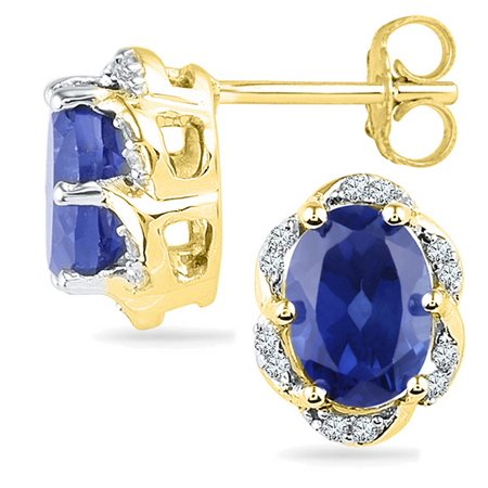 Solid 10k White and Yellow Two Toned Gold Oval Round Blue Simulated Sapphire And White Diamond Classic Solitaire One Stone Flower Prong Set Stud Earrings (1/10 cttw)