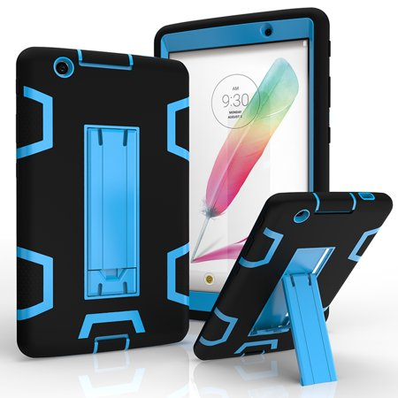 LG G Pad 3 8.0 / V525 V522 V521 V520 Shockproof Duty Hard Stand Case Cover Black Blue +Tempered Glass Screen Protector