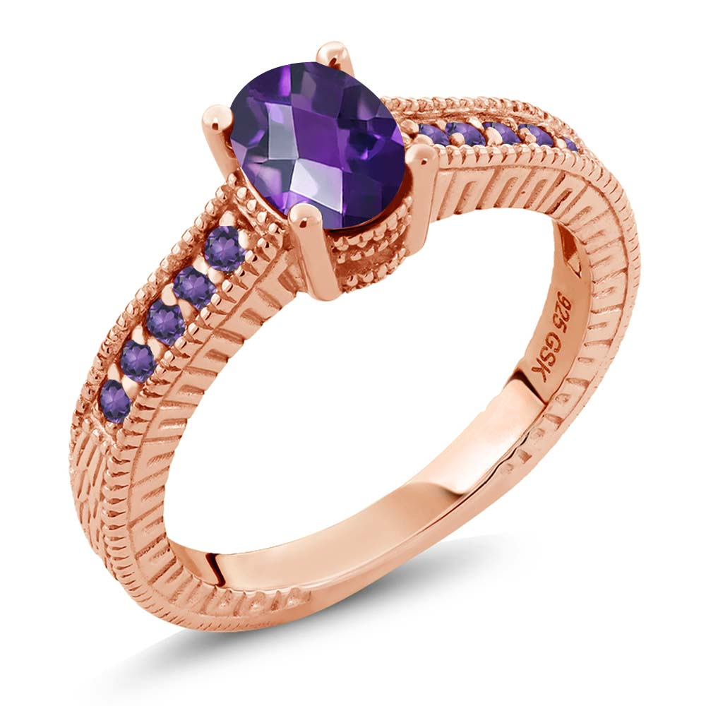 1.15 Ct Oval Checkerboard Purple VS Amethyst 18K Rose Gold Plated Silver Ring