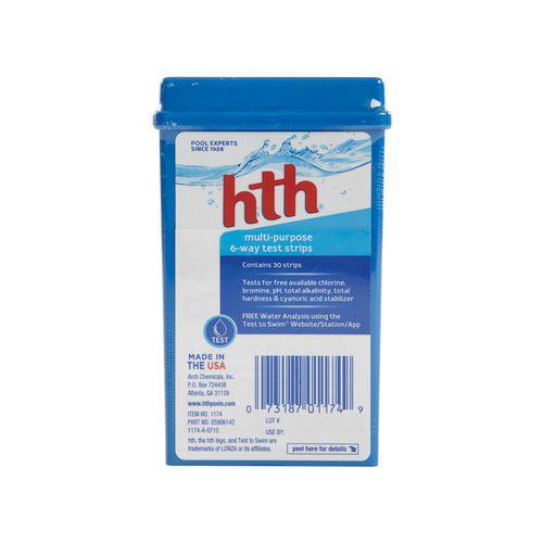 hth Multi-Purpose 6-Way Swimming Pool Test Strips, 30 ct