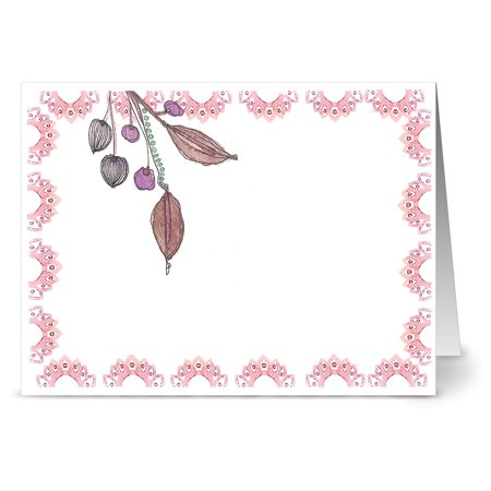 24 Note Cards - Watercolor Pink Leaves and Berries - Blank Cards - Pink Envelopes Included