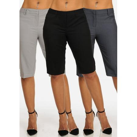 SUPER SALE! Womens Juniors Ladies Cute Dressy Straight Hem Plain Zipper Fly Basic Solid Color Bermuda Shorts Mega Pack Sale Clearance PackShorts