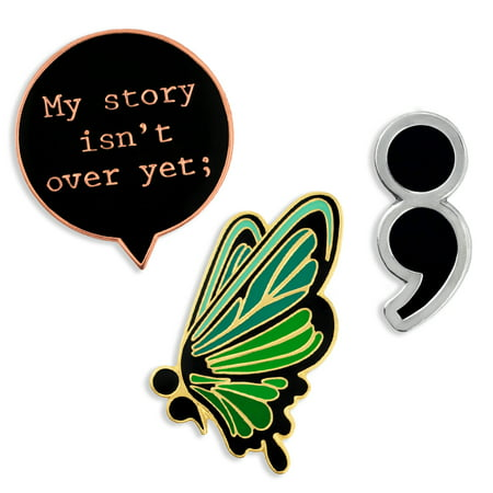 de8a3f0b03c9 PinMart s Semicolon Butterfly Mental Health Awareness Suicide Prevention  Pin Set - Walmart.com