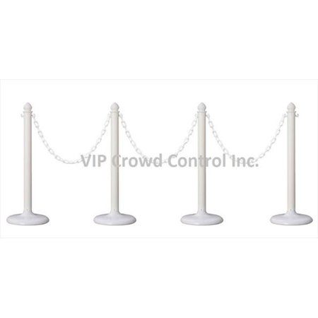 VIP Crowd Control 1842-4-32 14 in. Flat Base Plastic Stanchions - 32 ft. Chain, White, 4 Piece