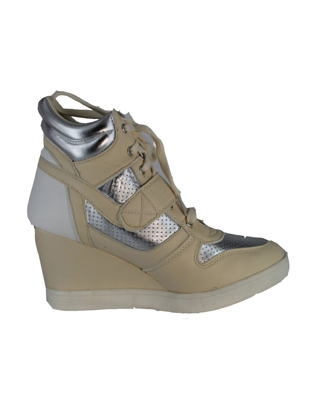 Qupid SELMA-01 Lace Up High Top Velcro Wedge Heel Sneaker