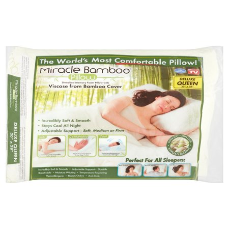 As Seen on TV Miracle Bamboo Pillow, Queen Shredded Memory Foam Pillow with Viscose From Bamboo Cover