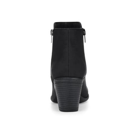 1289e68668 Unique Bargain Women's Round Toe Chunky Heel Zipper Ankle Boots ...