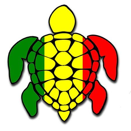 Sea Turtle Rasta Irie Reggae Design Red Yellow Green Hawaii Turtle - Sticker Designs