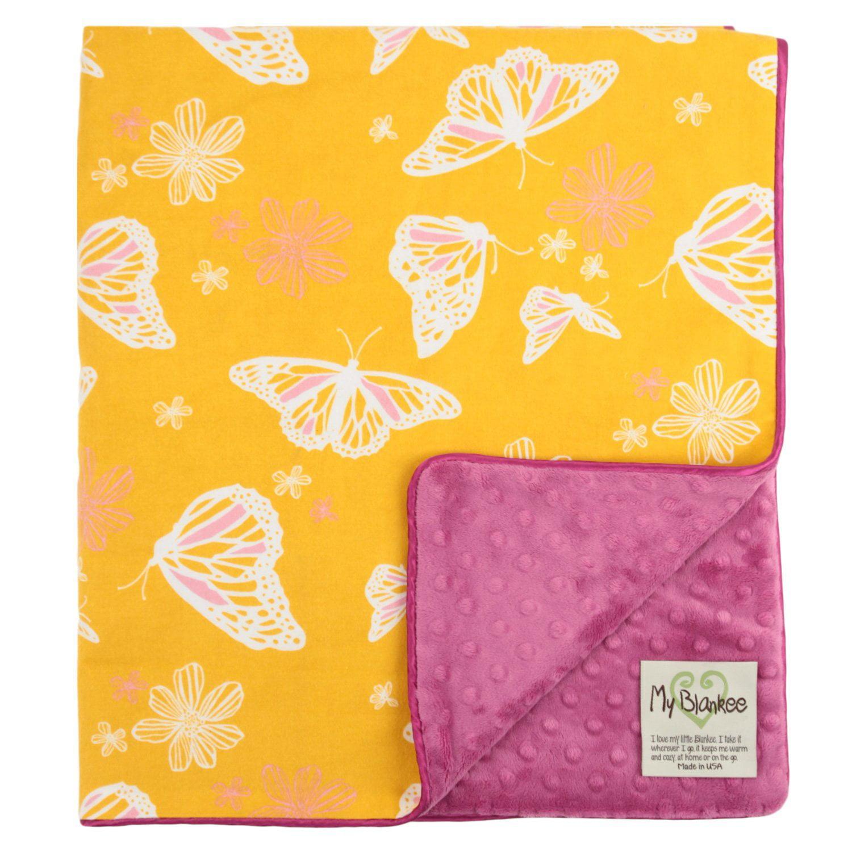 My Blankee Butterfly Organic Cotton Yellow w/ Minky Dot Fuchsia Baby Blanket, 30' X 35'