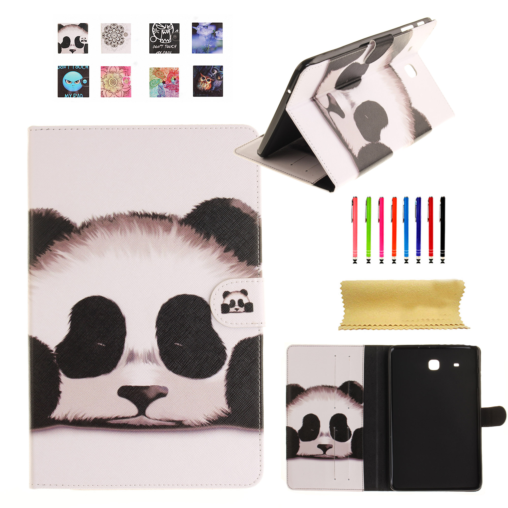 "Dteck For Samsung Galaxy Tab E 9.6"" SM-T560 New Practical Pattern PU Leather Wallet Flip Kickstand Case Cover Panda"
