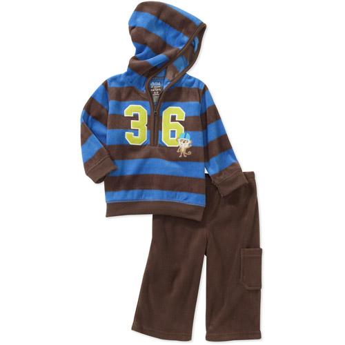 Child of Mine Carters Newborn Boys' 2-Piece Micro Fleece Stripe Hooded Top and Pant Set