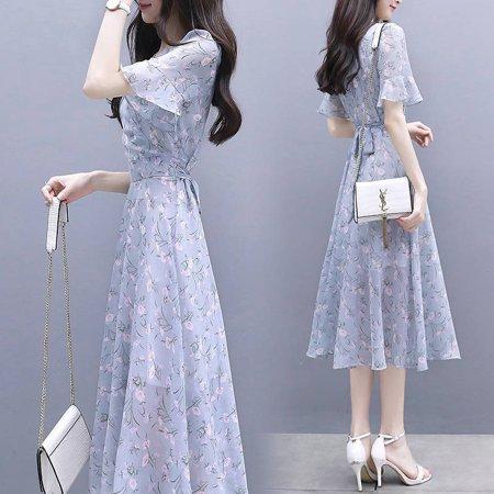 Women Summer Tight Waist Printing Mandarin Sleeve Lacing Dress Photo Color