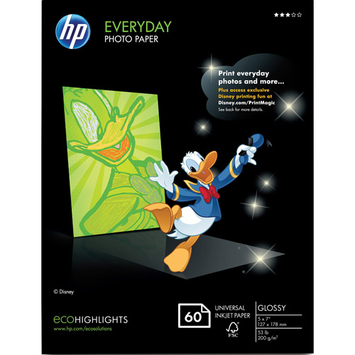 HP CH097A Everyday Photo Paper, Glossy (60 sheets, 5 x 7-inches)