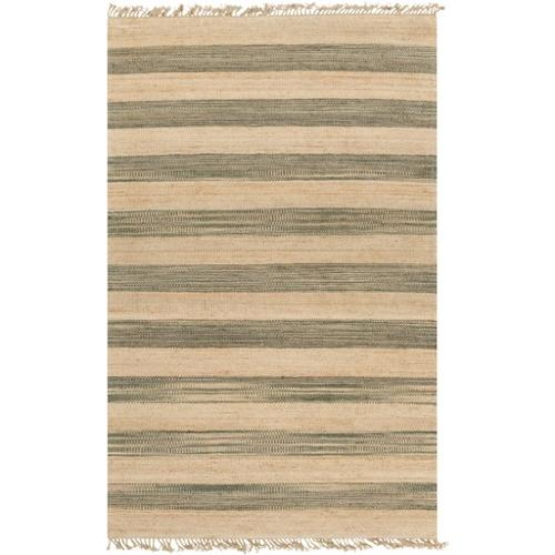 5' x 8' Picket Fences Almond Beige and Forest Green Hand ...
