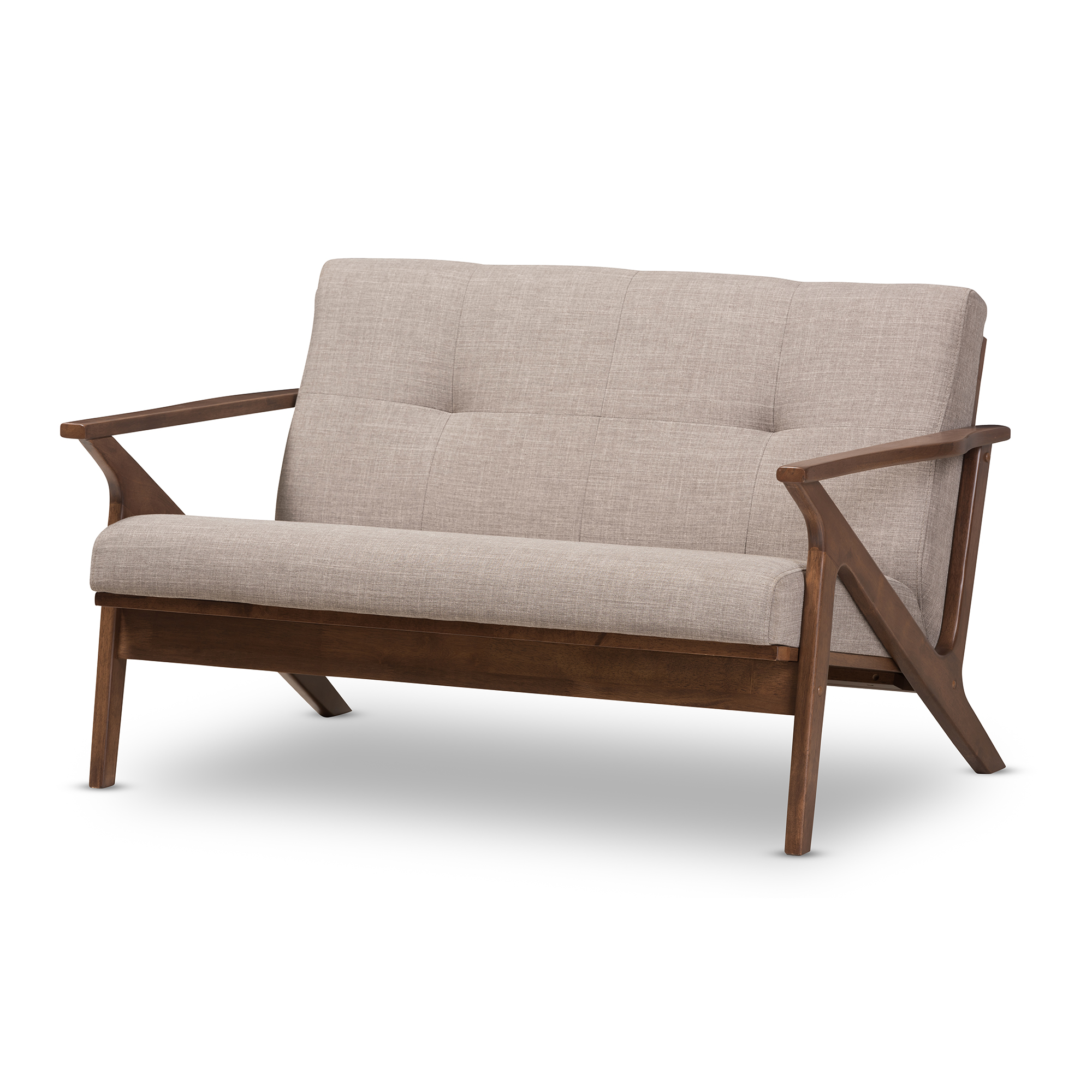 Baxton Studio Bianca Mid-Century Modern Walnut Wood Light Grey Fabric Tufted 2-Seater Loveseat