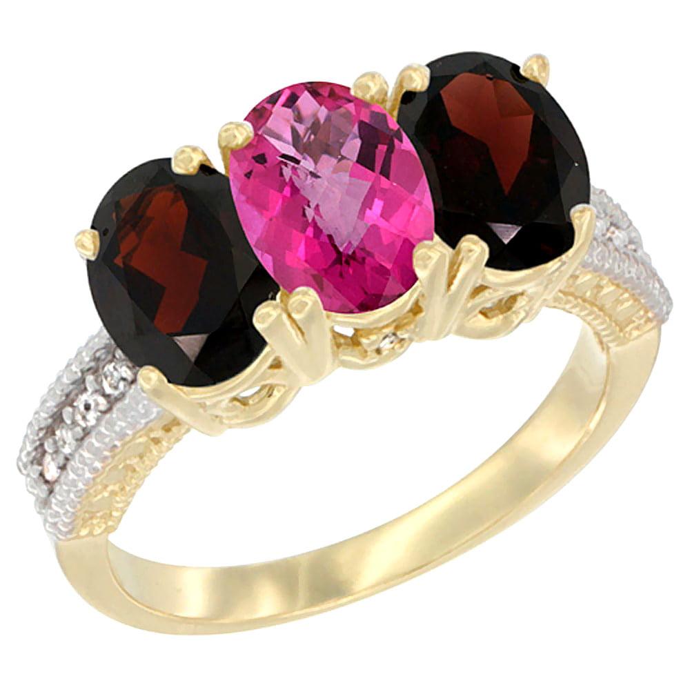 10K Yellow Gold Diamond Natural Pink Topaz & Garnet Ring 3-Stone 7x5 mm Oval, sizes 5 10 by WorldJewels