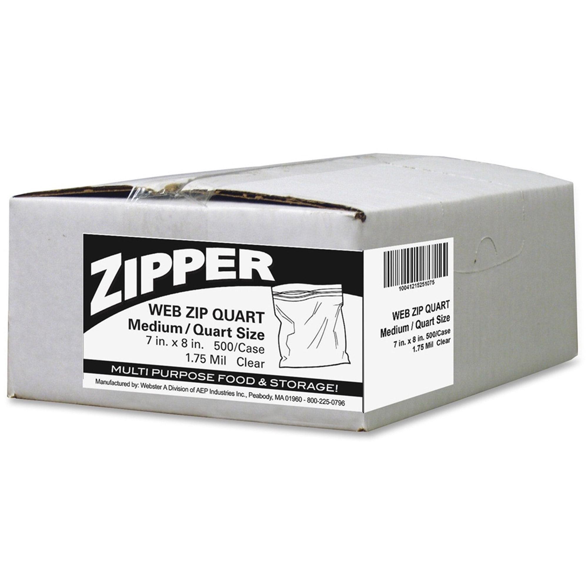 Webster Zipper Quart Size Storage Bags, 500 count