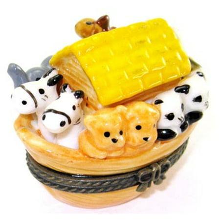 Noahs Ark with Animals Hinged Trinket Box phb