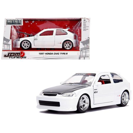 Honda Diecast Model (1997 Honda Civic Type R White with Carbon Hood