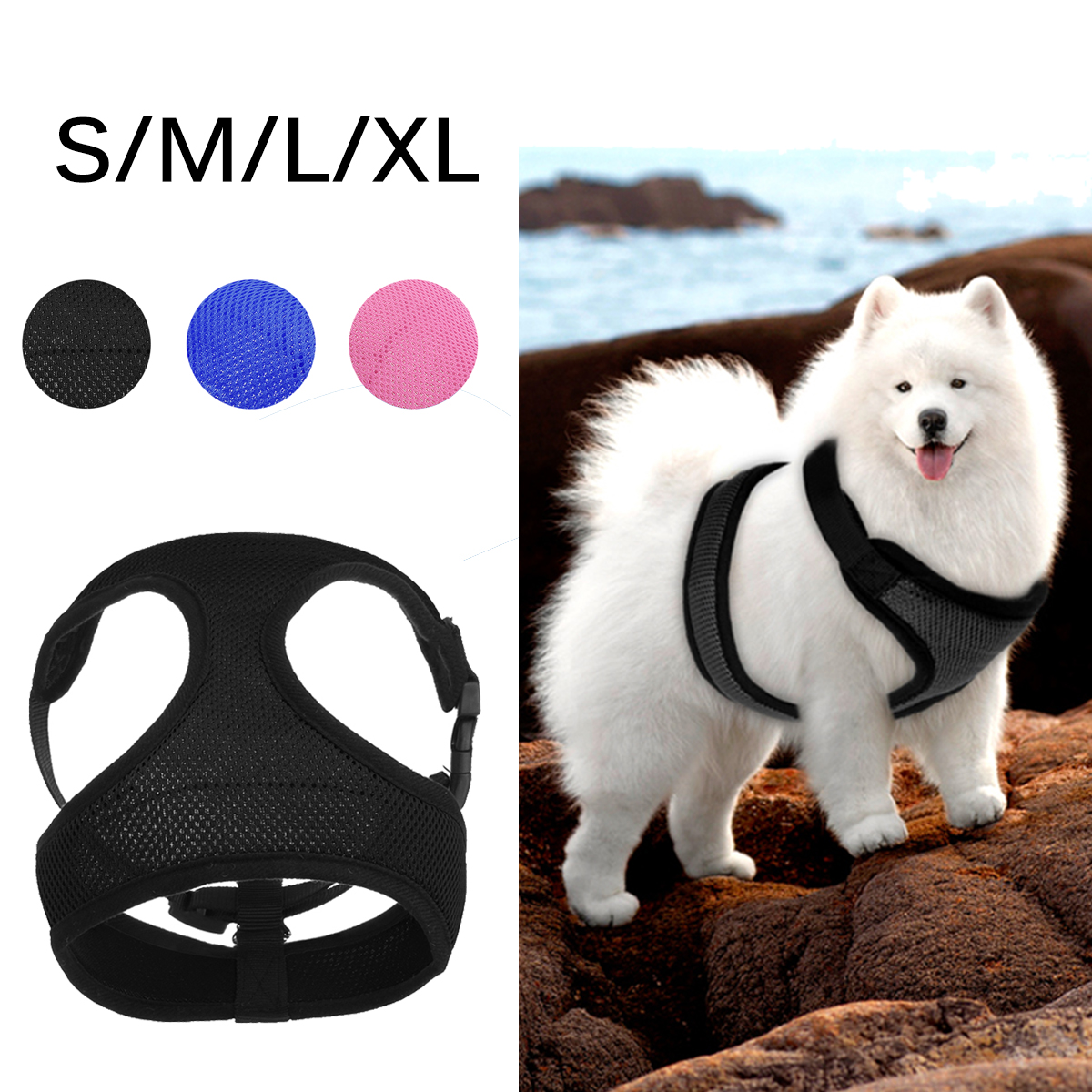 3 Colors Comfort Soft Mesh Padded Adjustable Dog Puppy Comfortable Harness Dog Walking Harness for Puppies, Small Dogs[Size:S,M,L,XL]