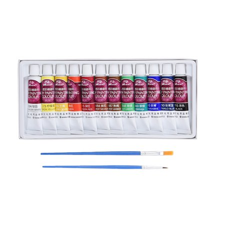 12 Pcs Face Painting Kit,  Pretty See Art Make-up Set Body Paint Kit with Rich Pigment and 2 Free Paintbrushes - Good Halloween Face Paint