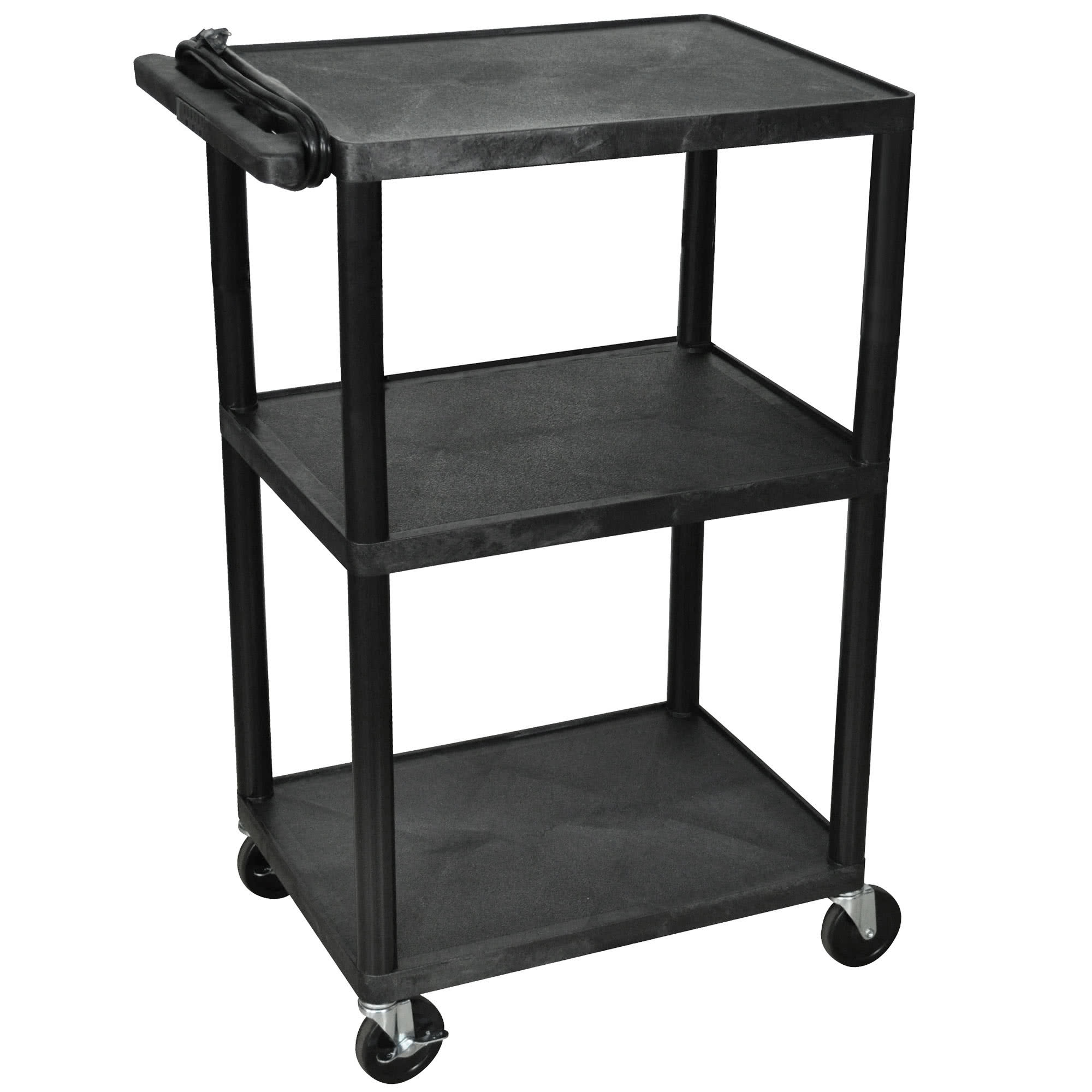 "TableTop King LP42E-B Black 42"" Three Shelf AV Cart with Three Outlets and Cord"