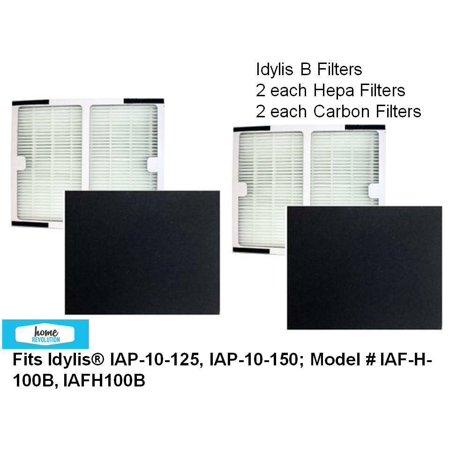 IDYLIS B 2 ea HEPA Plus 2 ea Carbon Filters for Idylis IAP-10-125, IAP-10-150 Air Purifier; Part No. IAF-H-100B by Home Revolution