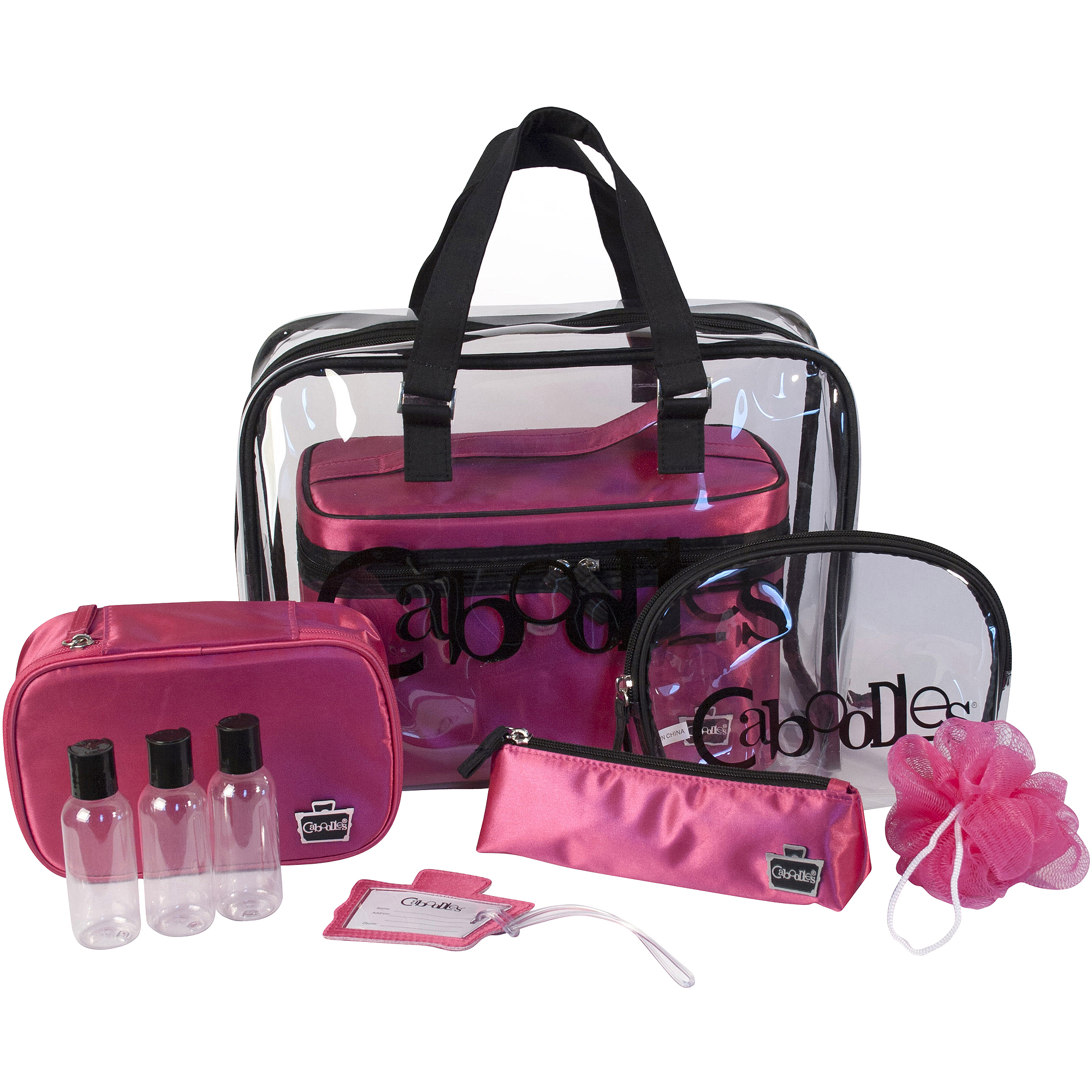 Caboodles Pink Satin Cosmetic Bag Set, 10 pc