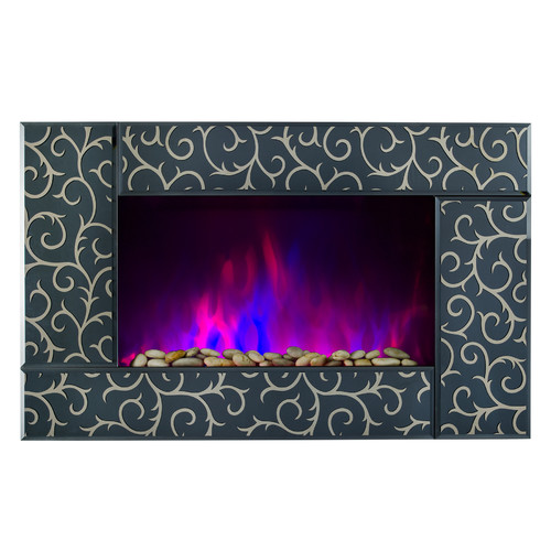 Golden Vantage Pebble and Log Interchangeable 36'' Wall Mount Electric Fireplace with Remote
